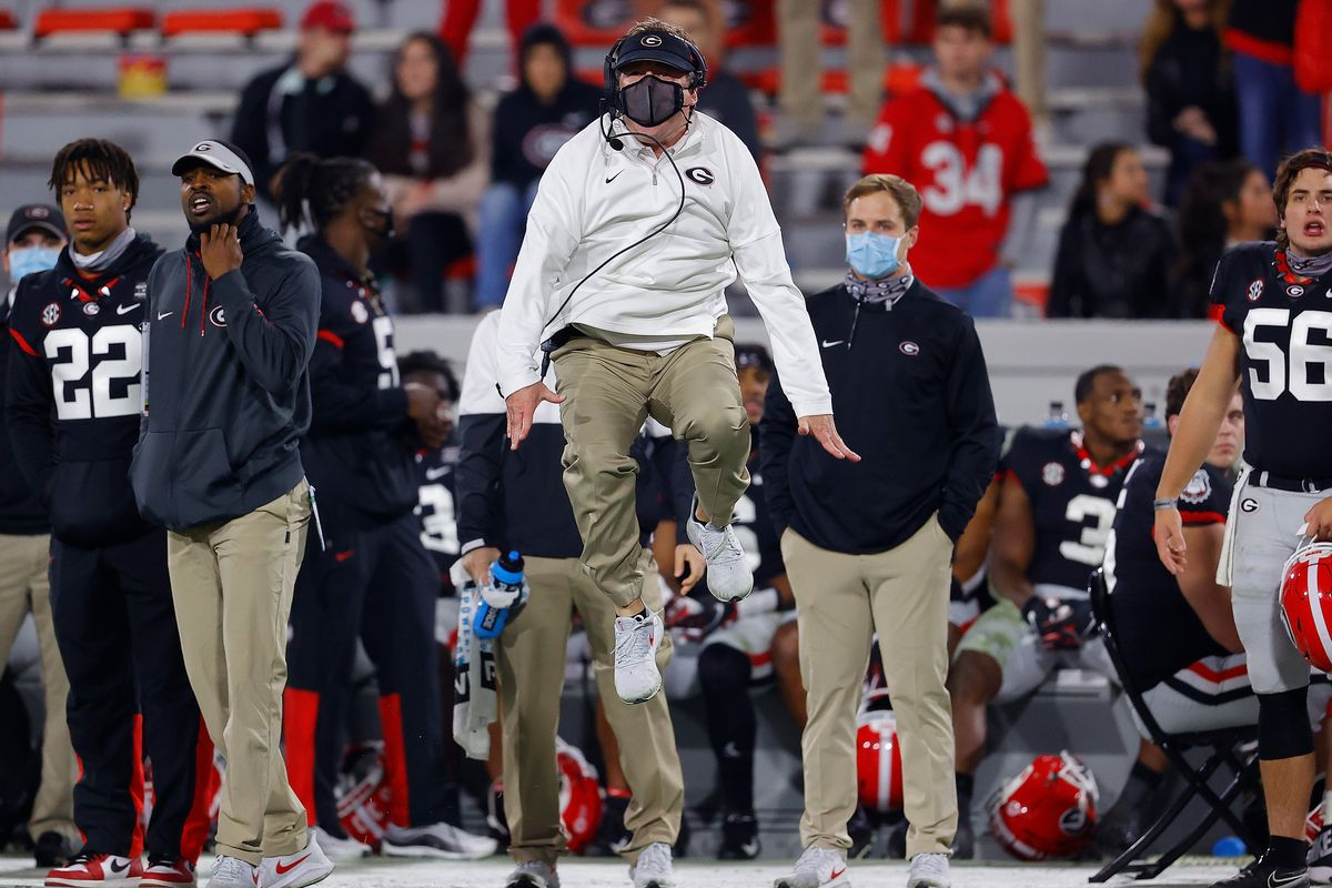 Head coach Kirby Smart of the Georgia Bulldogs reacts to the officials after a play near the end of the second half at Sanford Stadium on November 21, 2020 in Athens, Georgia.