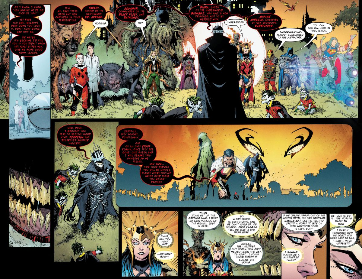 The Batman Who Laughs meets with his lieutenants, Harley Quinn, Dr. Arkham, Aquaman, Bathomet, Batmage, Wonder Woman, Mister Miracle, and Darkfather, in Dark Nights: Death Metal #1, DC Comics (2020).
