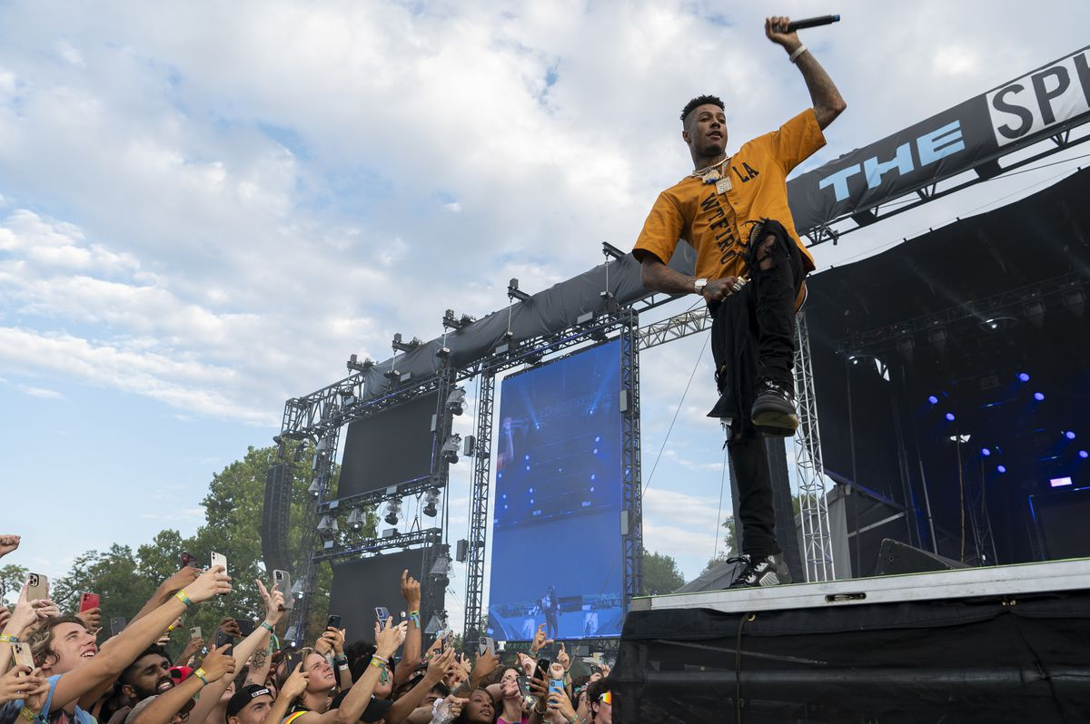 Blueface performs on day two of the Summer Smash Festival.