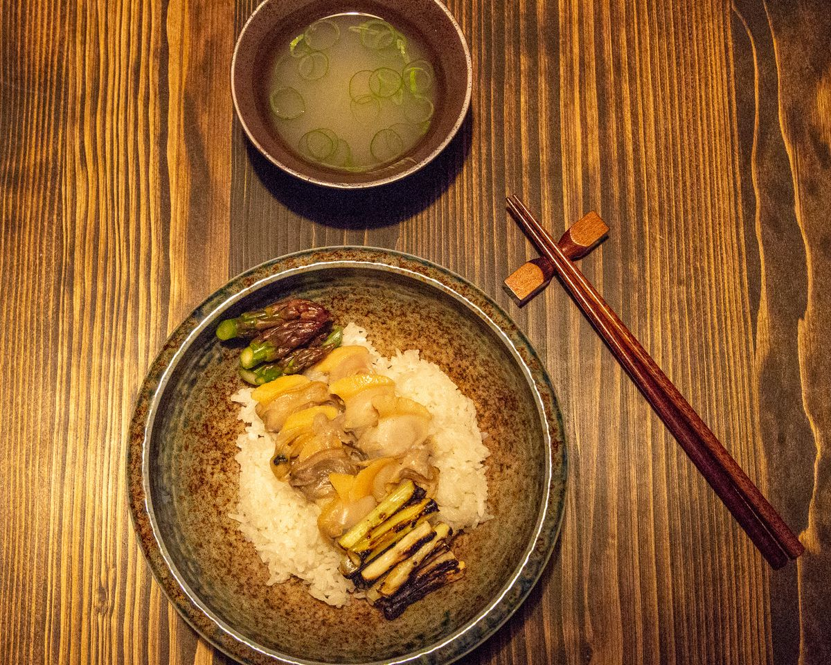 Grilled clam rice with shiro miso, spring onion, and pickled asparagus