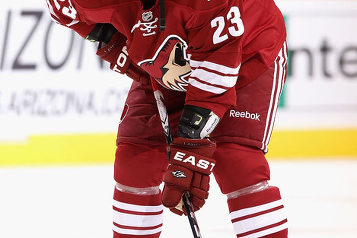 GLENDALE AZ - OCTOBER 16:  Oliver Ekman-Larsson #23 of the Phoenix Coyotes warms up before the NHL game against the Detroit Red Wings at Jobing.com Arena on October16 2010 in Glendale Arizona.  (Photo by Christian Petersen/Getty Images)