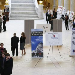 University of Utah and Utah State University students show their research for Utah lawmakers in rotunda of the state Capitol in Salt Lake City, Tuesday, Jan. 26, 2016.