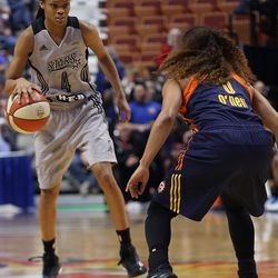 San Antonio Stars' Moriah Jefferson (4) gets ready to try and get past Connecticut Sun's Jennifer O'Neill (0).