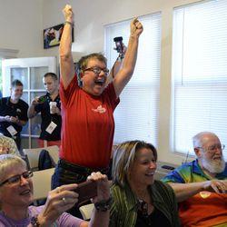Tina Reynolds celebrates the Supreme Court decision at the LGBT Sacramento Community Center on Wednesday, June 26, 2013 in Sacramento, Calif.