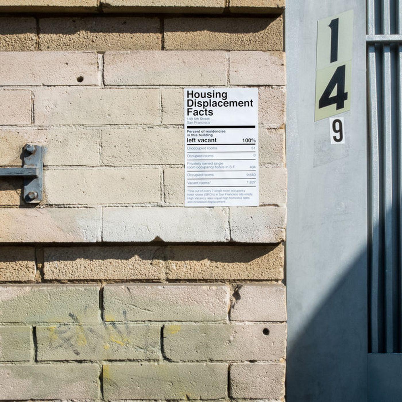 San Francisco artist puts notices on vacant SROs to spotlight