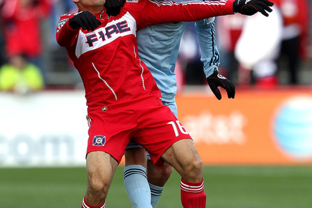 <strong>Chance Myers! Chance Myers! Chance Myers!</strong> What, it's the only picture I have of him in a <strong>Sporting KC</strong> jersey. Two goals gets you a match report photo spot.