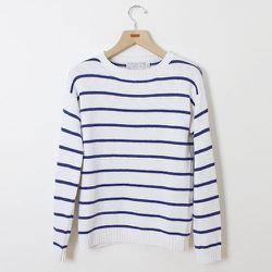 """<strong>Shipley & Halmos</strong> Striped Cotton Sweater in Blue/White, <a href=""""http://www.barneys.com/on/demandware.store/Sites-BNY-Site/default/Product-Show?pid=503340688&cgid=men&index=9"""">$285</a> at Barney's"""
