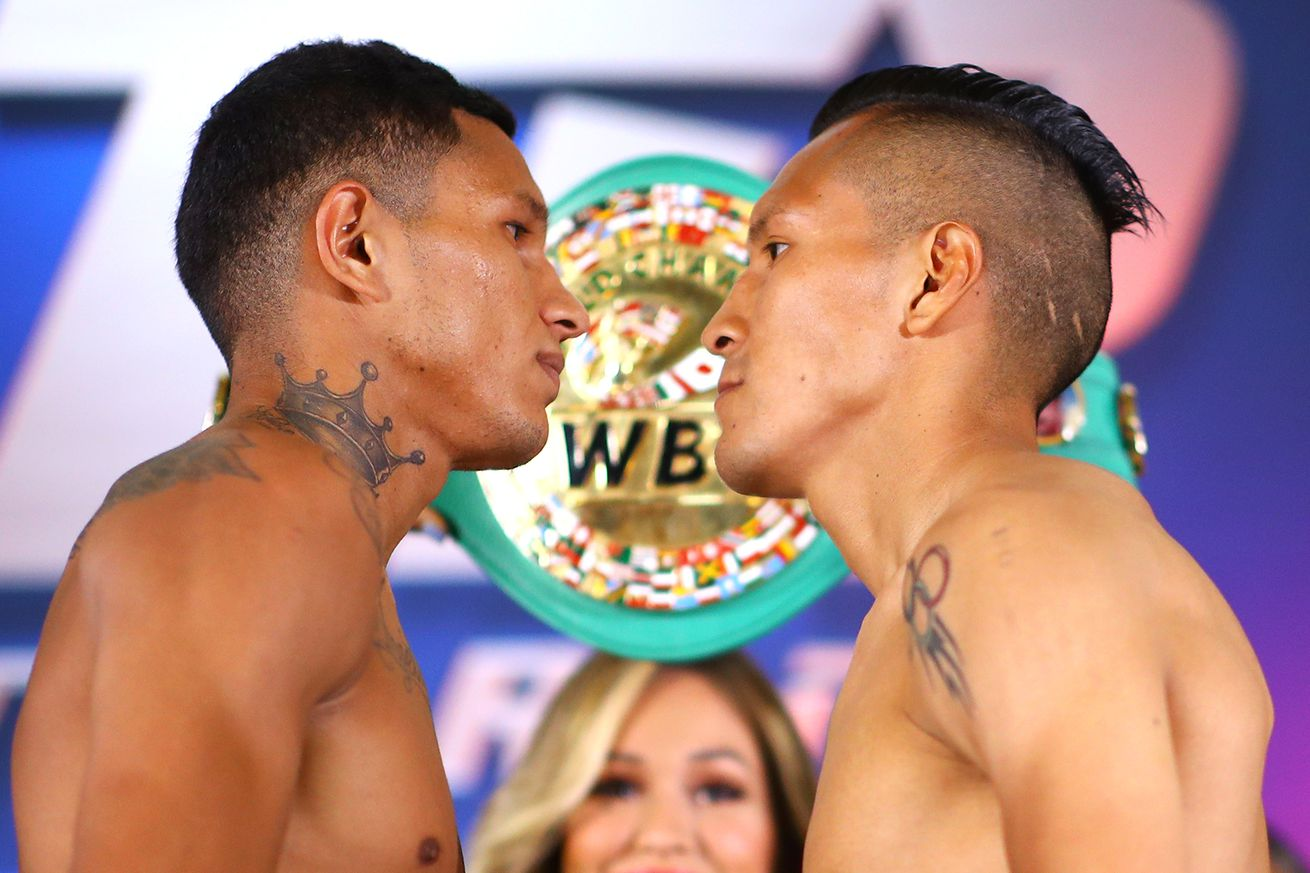 Miguel Berchelt vs Francisco Vargas faceoff.0 - Berchelt-Vargas II: Live coverage, 10 pm ET
