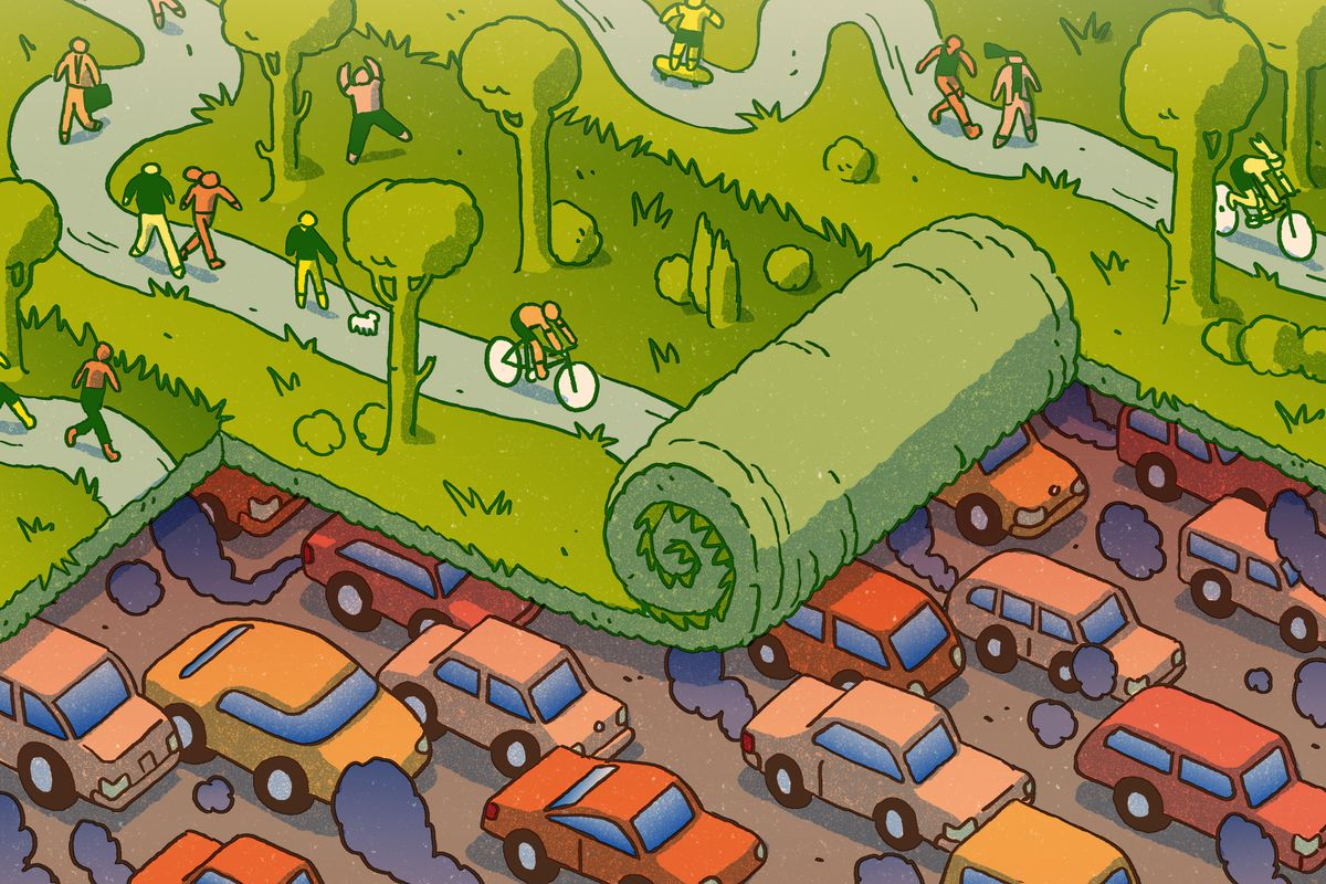 A lush, grassy park scene rolls over a dirty, traffic-clogged highway. Illustration.