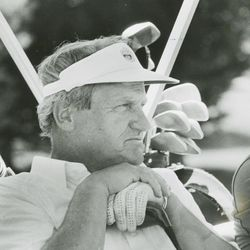 BYU head football coach LaVell Edwards golfs during a celebrity pro-am tournament Aug. 15, 1986.