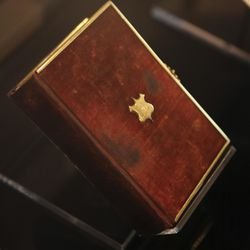 """The bible that Abraham Lincoln used in his first inauguration in 1861, and also used by President Barack Obama for his inauguration, is on display, as part of the new exhibit, """"With Malice Toward None: The Abraham Lincoln Bicentennial Exhibition,"""" at the California Museum in Sacramento, Calif. on Tuesday, June 23, 2009. The Library of Congress exhibit celebrating Lincoln's 200th birthday opens Wednesday and features 200 artifacts related to the 16th president. The California Museum is the first of five stops on the national tour and the only stop for the exhibit on the West Coast. (AP Photo/Rich Pedroncelli)"""