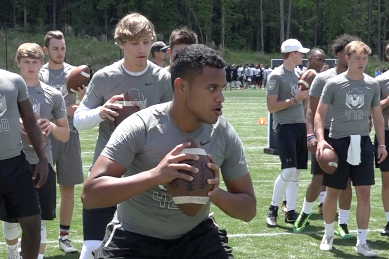 Taulia Tagovailoa at the Charlotte regional camp for Nike's The Opening in 2017.