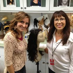 """Mindy McKnight with Linda Flowers, the head hair stylist for """"The Hunger Games: Catching Fire."""""""