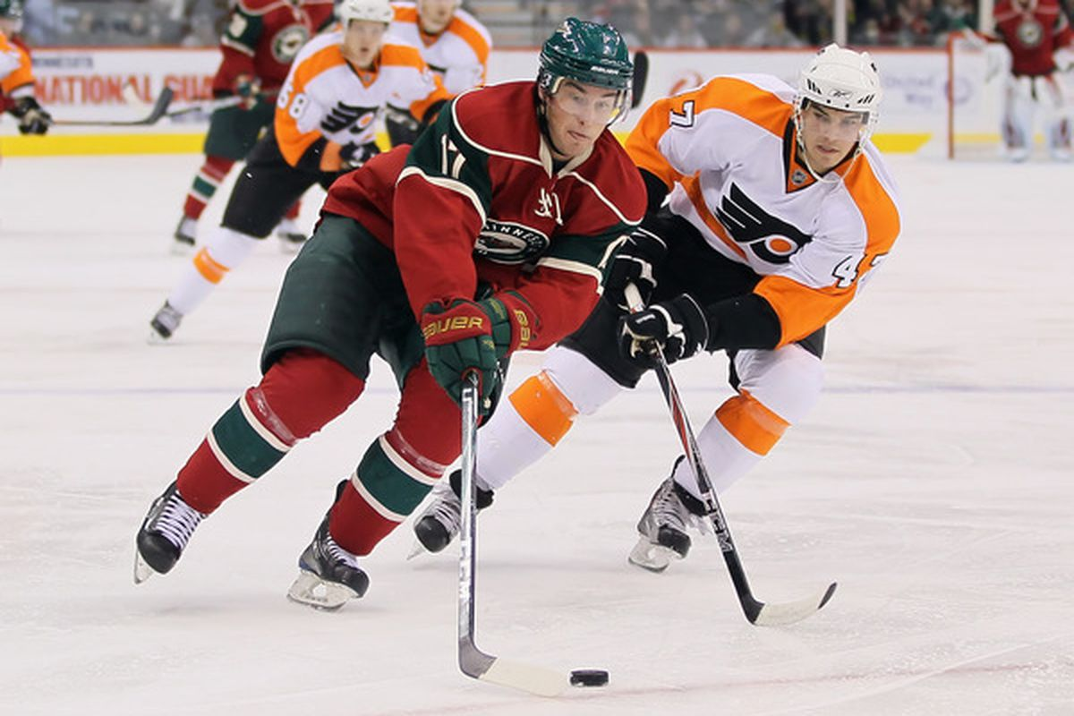ST PAUL MN - Casey Wellman #17 of the Minnesota Wild  on September 25 2010 in St Paul Minnesota. (Photo by Jeff Gross/Getty Images)