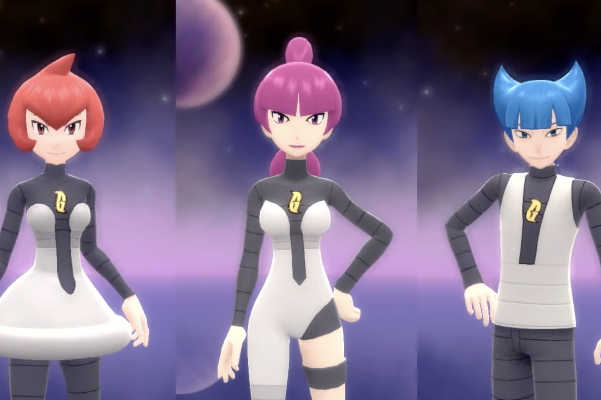 three images of bosses from team galactic cut together. each has a funky haircut and they wear space-themed futuristic outfits