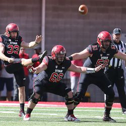 Utah's Mitch Wishnowsky punts the annual Red & White Spring Game at Rice-Eccles Stadium in Salt Lake City on Saturday, April 15, 2017.