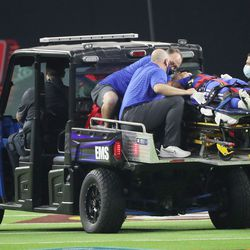 Brigham Young Cougars defensive back Keenan Ellis (2) is injured during the Vegas Kickoff Classic in Las Vegas on Saturday, Sept. 4, 2021.