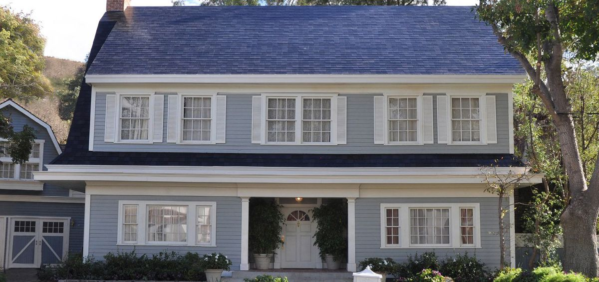 A home with textured roof panels.