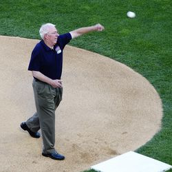 Minus cigar & Zubaz (sadly), TK throws out the ceremonial first pitch