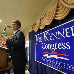 Joseph Kennedy III, son of former U.S. Rep. Joseph P. Kennedy II and grandson of the late Robert F. Kennedy, addresses a crowd during a watch party in Taunton, Mass., Thursday, Sept. 6, 2012. The 31-year-old Kennedy is vying for the House seat being vacated by Democratic U.S. Rep. Barney Frank. Kennedy won the Democratic primary for the Massachusetts Fourth Congressional District Thursday.