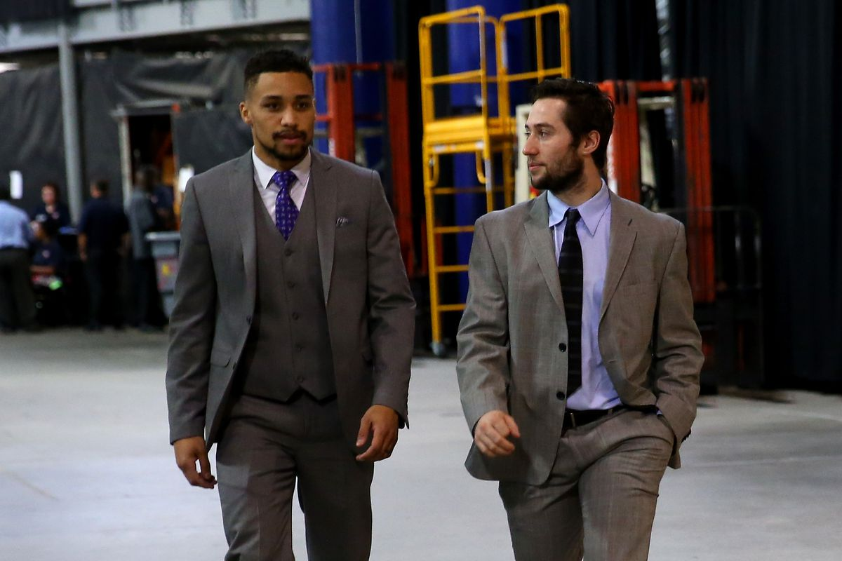 """""""I'm not just 'Good at the Hockey', J.T..  It's a cute saying but this birthday boy is also good at the style."""" --Tyler Johnson (right)."""