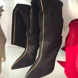 Black suede long boots, $150