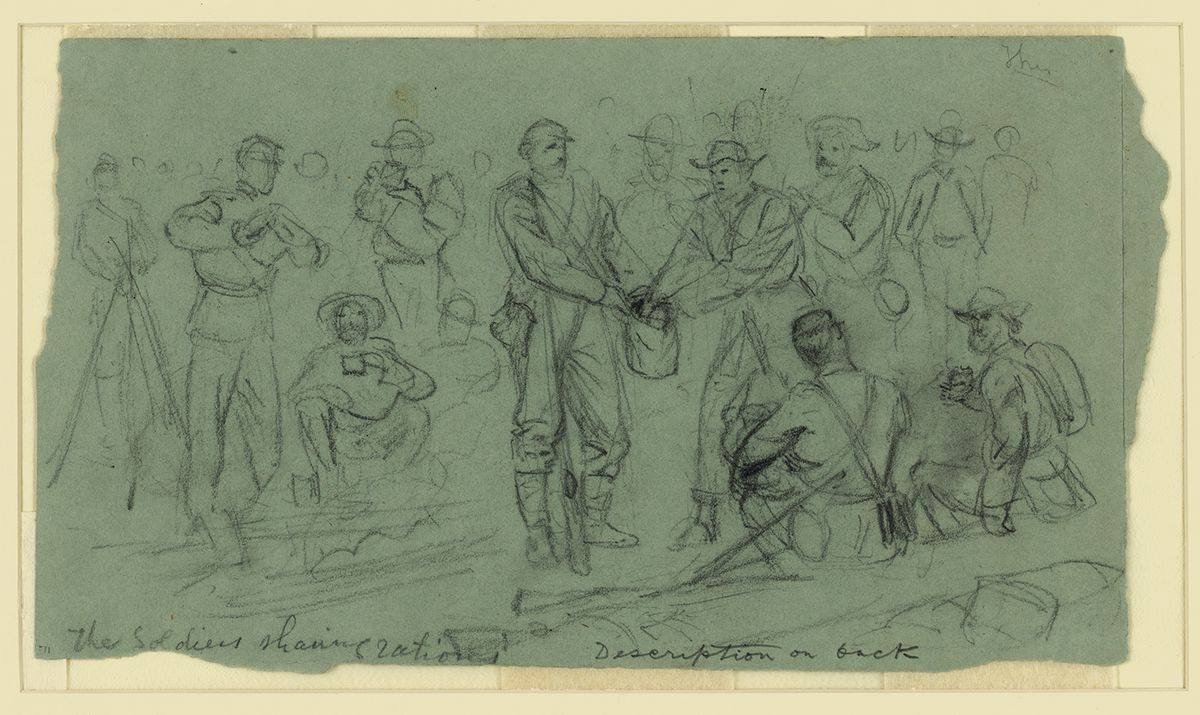 Union and Confederate soldiers sharing rations.