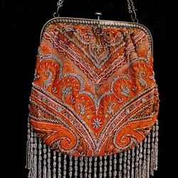 Antique fringed tapestry purse from France, $185