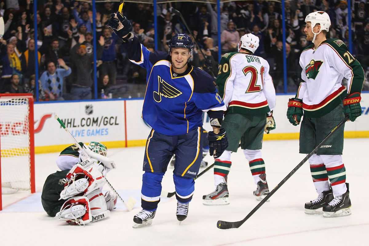 Pictured: Vladimir Sobotka, moments after apparently kicking the Wild goalie in his Charlie Browns.
