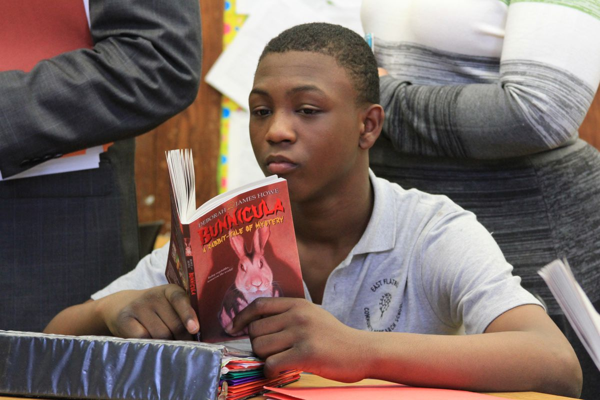A student works on independent reading at East Flatbush Community Research School in Brooklyn.