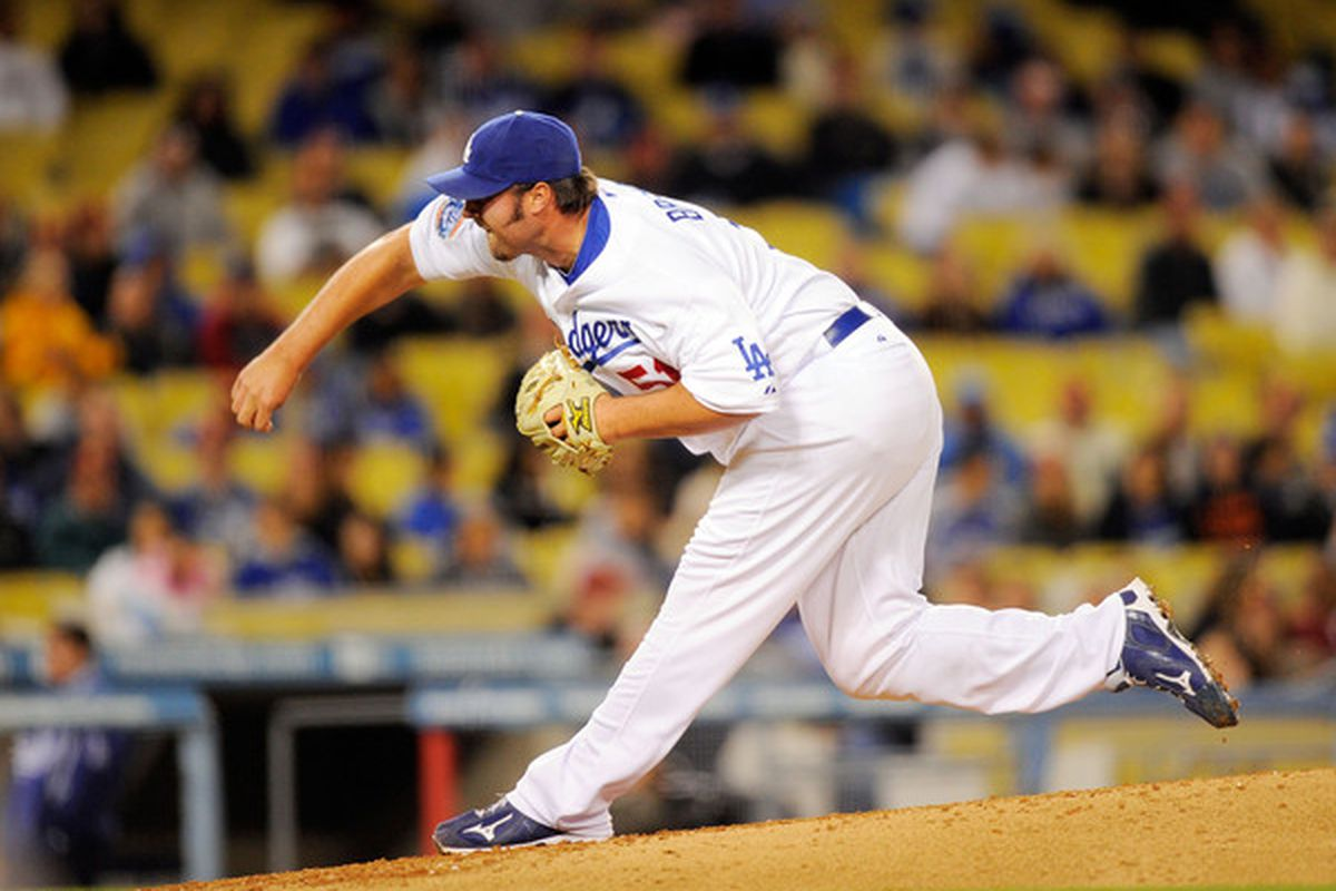 Los Angeles Dodgers pitcher Jonathan Broxton (Photo by Kevork Djansezian/Getty Images)