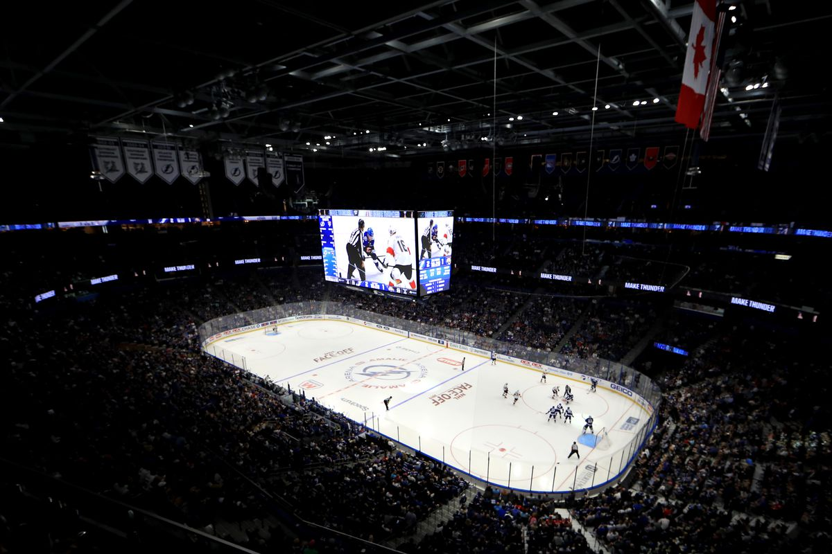 A general view of Amalie Arena during the home opener between the Tampa Bay Lightning and the Florida Panthers on October 03, 2019 in Tampa, Florida.
