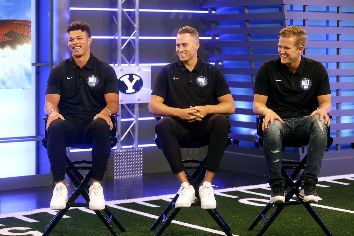 BYU quarterbacks Jaren Hall, from left, Baylor Romney and Jacob Conover are in the running to replace Zach Wilson in Provo.