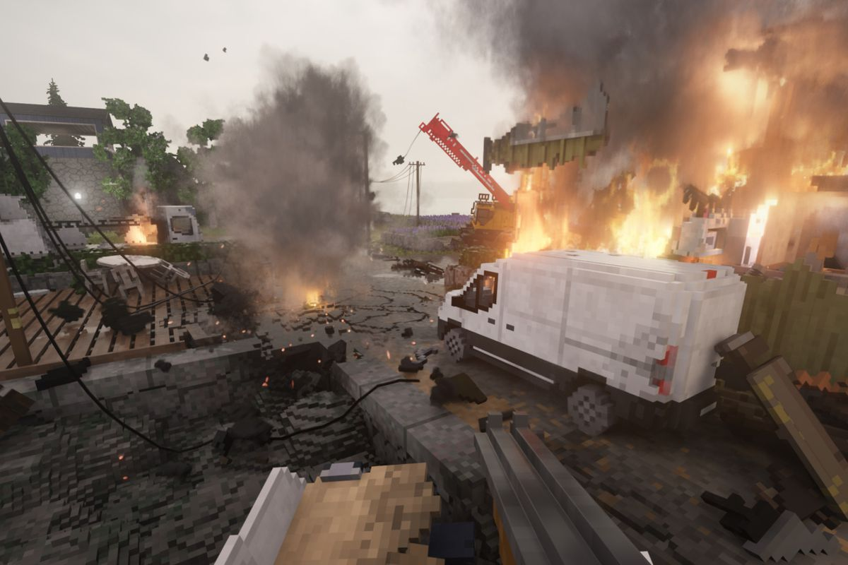 Teardown - a dock is aflame, with a construction crane and wreckage strewn everywhere in a sea of destruction.