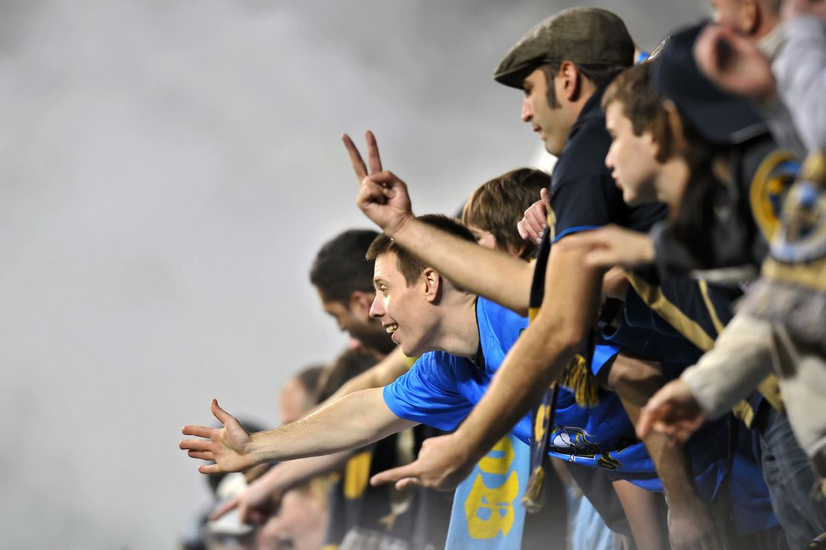 CHESTER, PA- APRIL 09:  Philadelphia Union fans cheer during the game against the New York Red Bulls at PPL Park on April 9, 2011 in Chester, Pennsylvania. The Union won 1-0. (Photo by Drew Hallowell/Getty Images)