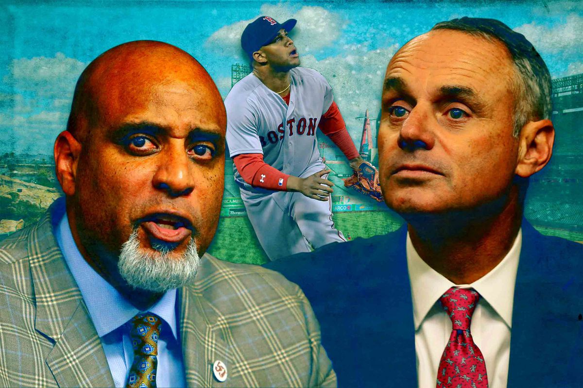 MLBPA executive director Tony Clark, Red Sox prospect Yoan Moncada, and MLB commissioner Rob Manfred (Getty Images/Ringer illustration)