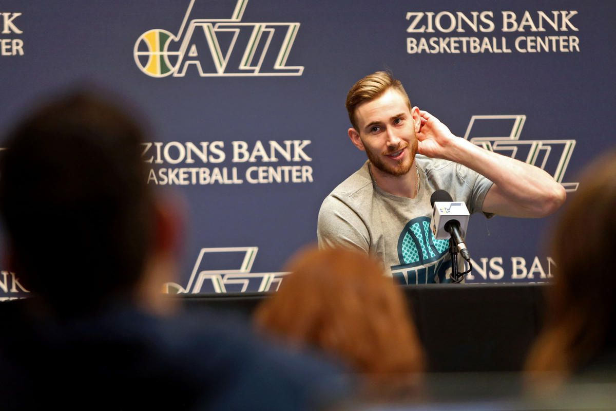 Utah Jazz forward Gordon Hayward (20) talks to the media during the end of season press conference at the Zions Bank Basketball Center in Salt Lake City on Tuesday, May 9, 2017.