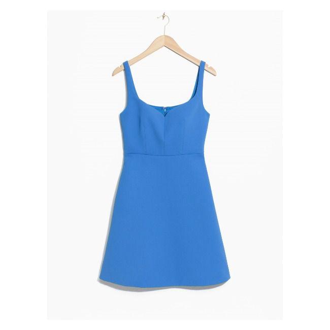 A blue dress on a hanger