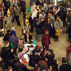 It starts. The models amongst the crowd. Photo credit: Cynthia Drescher