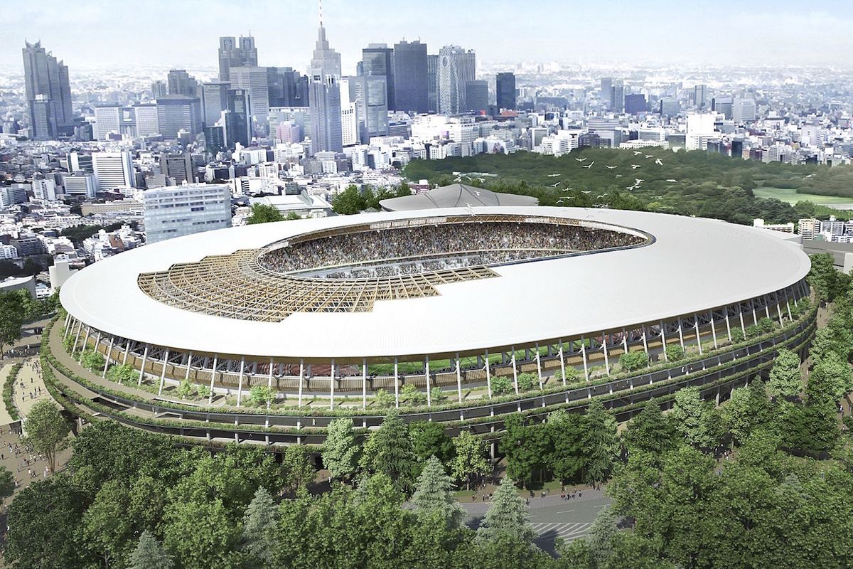 Kengo Kuma's design for the new Tokyo Olympic Stadium, which will be a centerpiece for the 2020 Olympic Games in Tokyo.