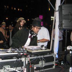 Sean Lennon DJs in the Maybelline tent