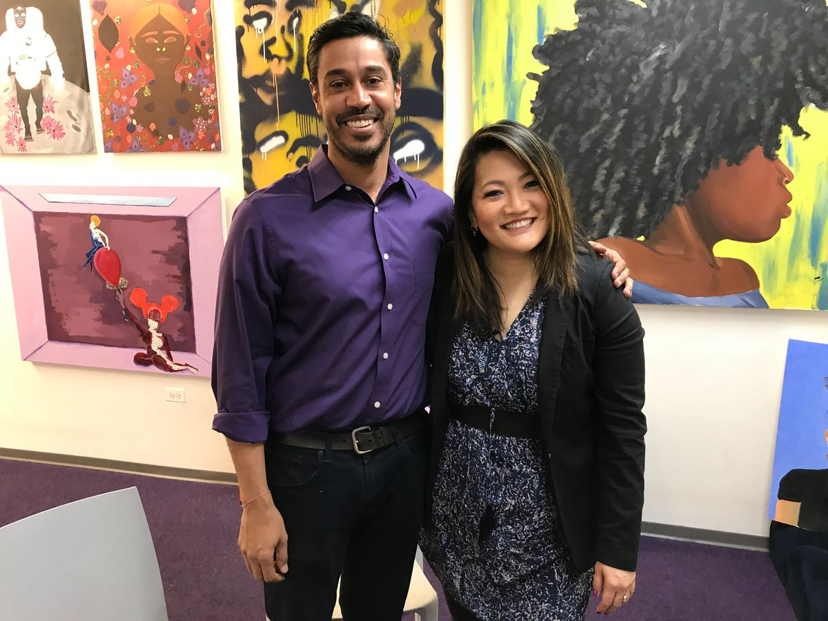 Ji Suk Yi with Hilesh Patel of the Hyde Park Art Center. | Brian Rich/ For the Sun-Times
