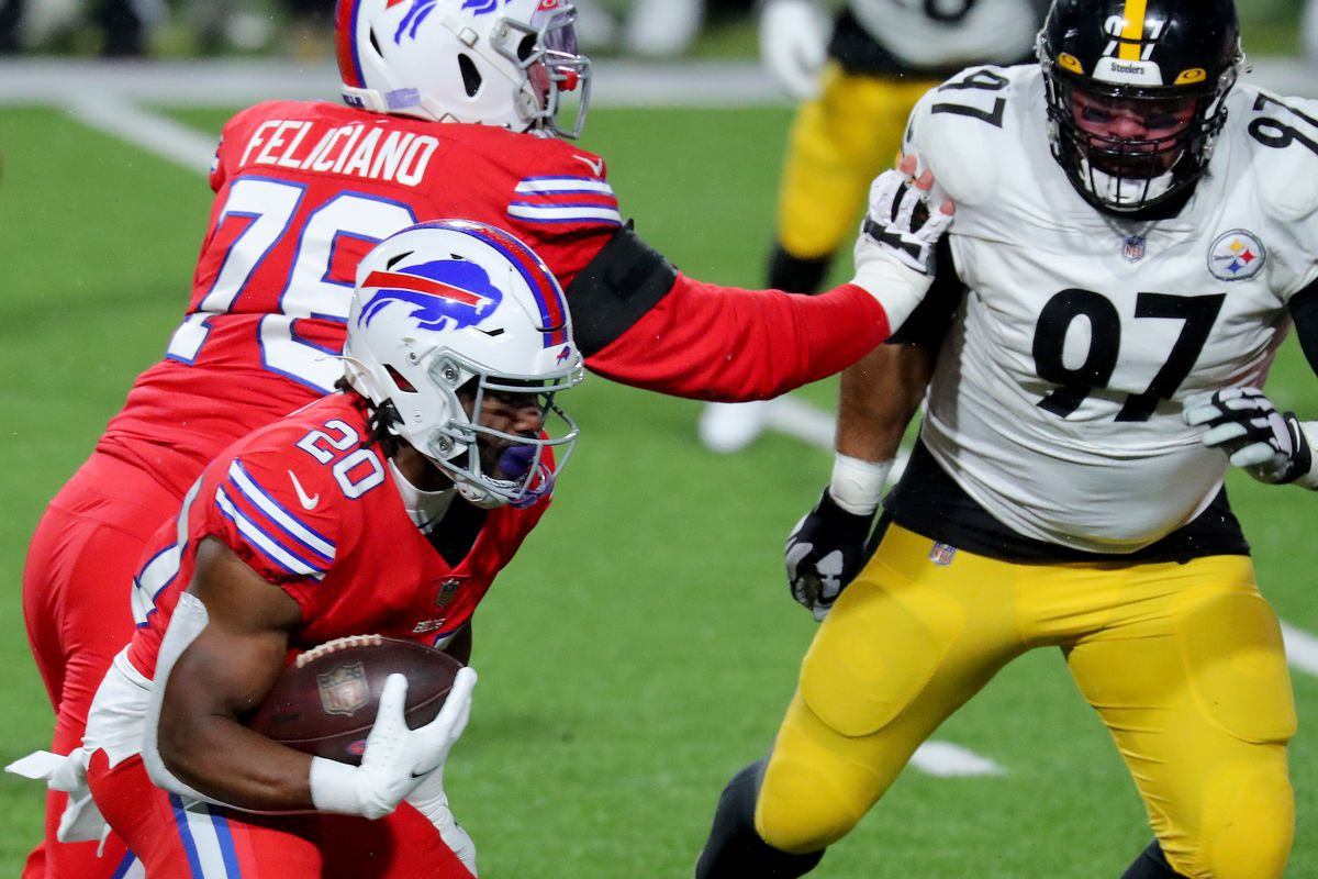 Zack Moss #20 of the Buffalo Bills carries the ball against the Pittsburgh Steelers during the first quarter in the game at Bills Stadium on December 13, 2020 in Orchard Park, New York.