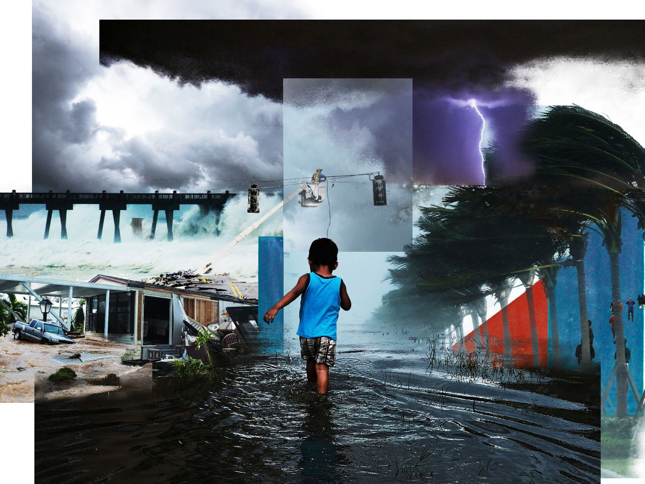 A photo illustration of a children wading through water with surrounding pictures of wind, weather, and destruction.
