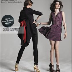 "<a href=""http://www.saksfifthavenue.com/editorial/FashionStar.jsp"">Fashion Star Beaded Dress by Luciana Scarabello</a>, $225, and <a href=""http://www.saksfifthavenue.com/editorial/FashionStar.jsp"">Fashion Star Tailcoat Jacket by Kara Laricks</a>, $395 at"