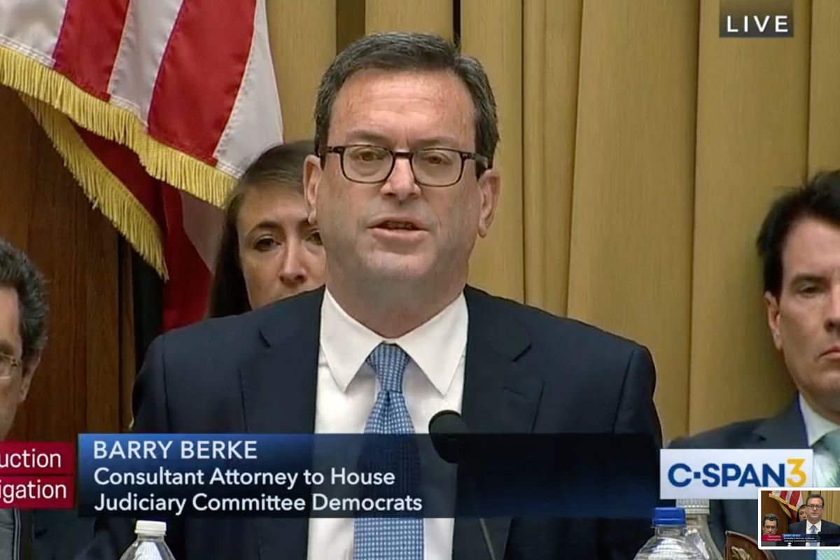 Lawyer Barry Berke questions Corey Lewandowski during a House Judiciary Committee in 2019.