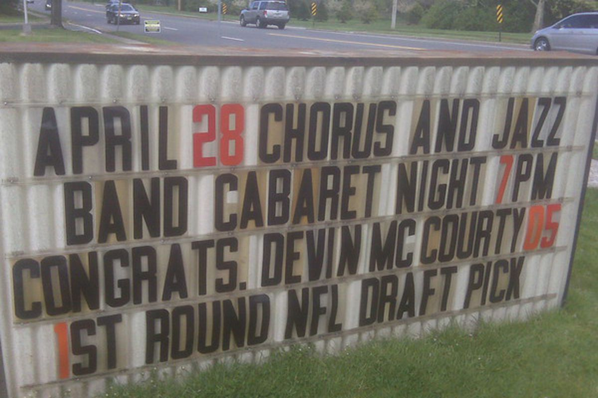 <em>Sign in Montvale, NJ, home of St. Joseph's Memorial where Devin McCourty went to high school.  Pretty cool</em>.