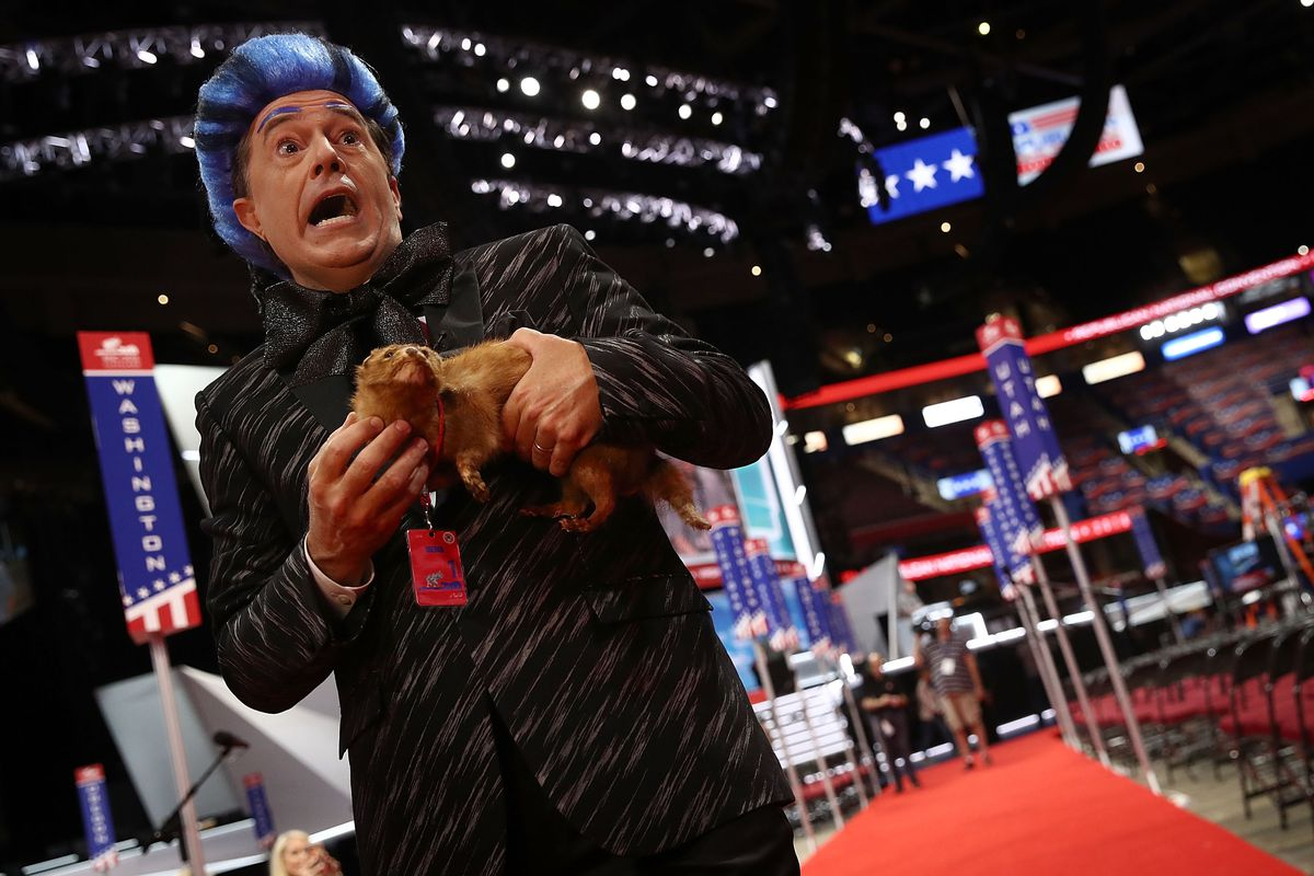 Comedian Stephen Colbert tapes a segment on the floor of the Republican National Convention for CBS's The Late Show with Stephen Colbert at the Quicken Loans Arena  July 17, 2016, in Cleveland, Ohio.