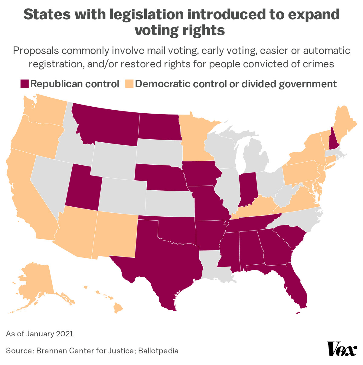 A map of voting rights expansion bills