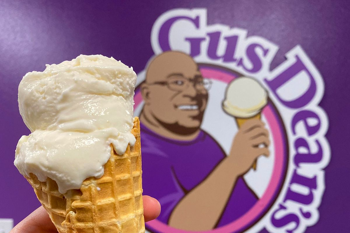 A vanilla ice cream cone, now available at Gus Dean's scoop shop inside the Grand Canal Shoppes food court.